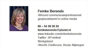 Visitekaartje Femke Berends,  communicatieadviseur