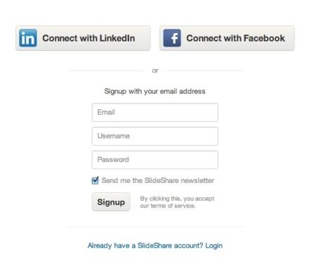 Account aanmaken Slideshare