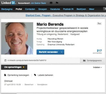Opmerking op LinkedIn profiel
